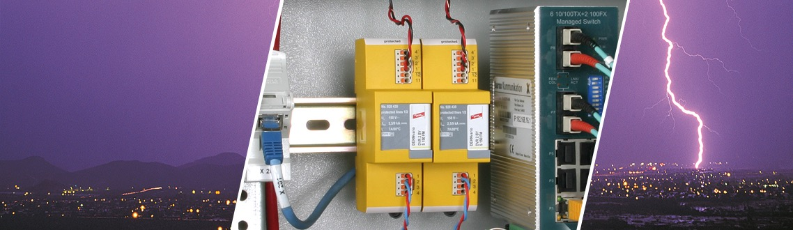 Compact DIN rail mounted arrester
